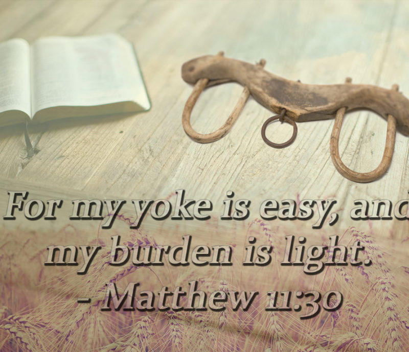 For my yoke is easy, and my burden is light. Matthew 11:30